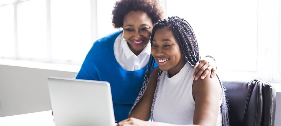 african american female student with mom